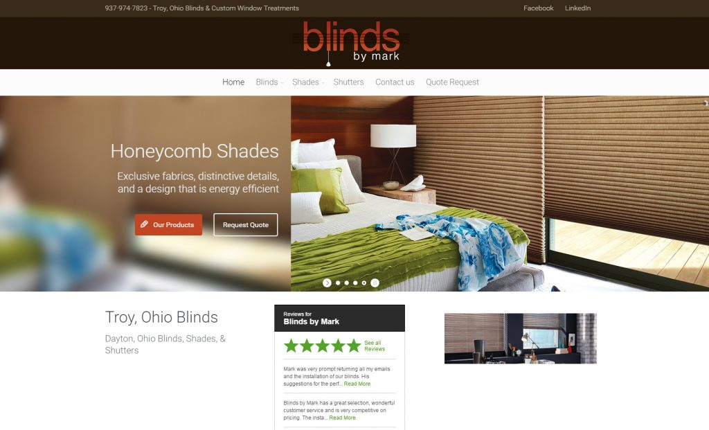Home Web Design. Blinds By Mark Dayton Ohio Web Design  Graphic Schultz